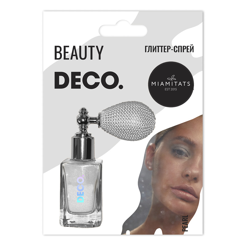 Глиттер-спрей для лица, тела и волос DECO. By Miami Tattoos (Pearl)