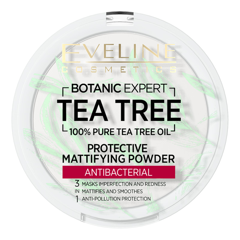 Пудра компактная для лица Eveline Botanic Expert 3 в 1 антибактериальная матирующая тон 001 Transparent