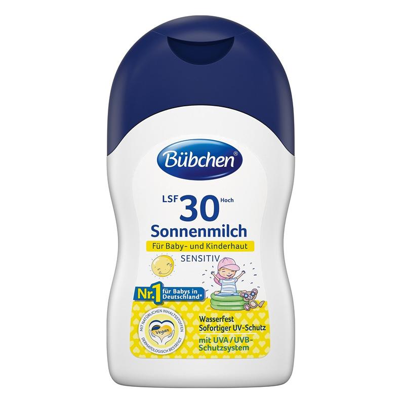 Солнцезащитное молочко для младенцев и детей с чувствительной кожей SPF 30, Bübchen