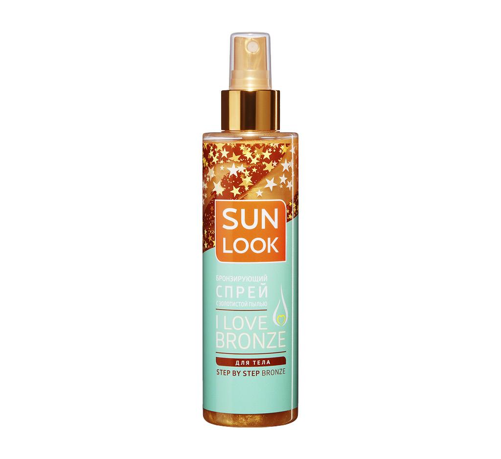 Спрей для тела Sun Look I Love Bronze бронзирующий с золотистой пылью