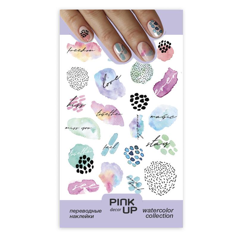 Наклейки для ногтей Pink Up Decor Watercolor переводные тон 671