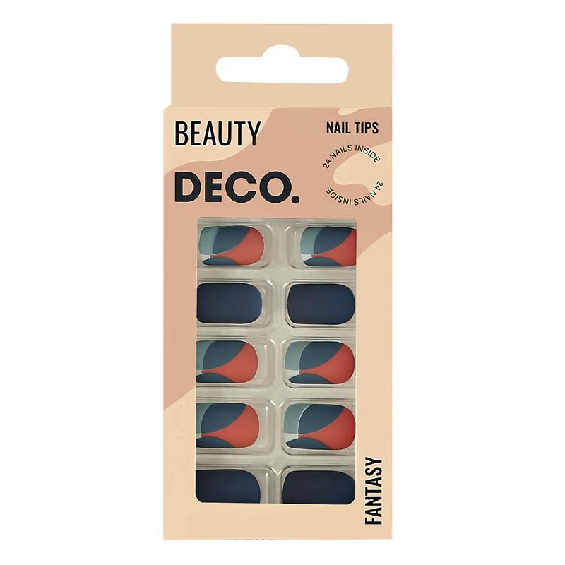 Набор накладных ногтей DECO. Fantasy Blue Abstraction (24 шт + клеевые стикеры 24 шт)