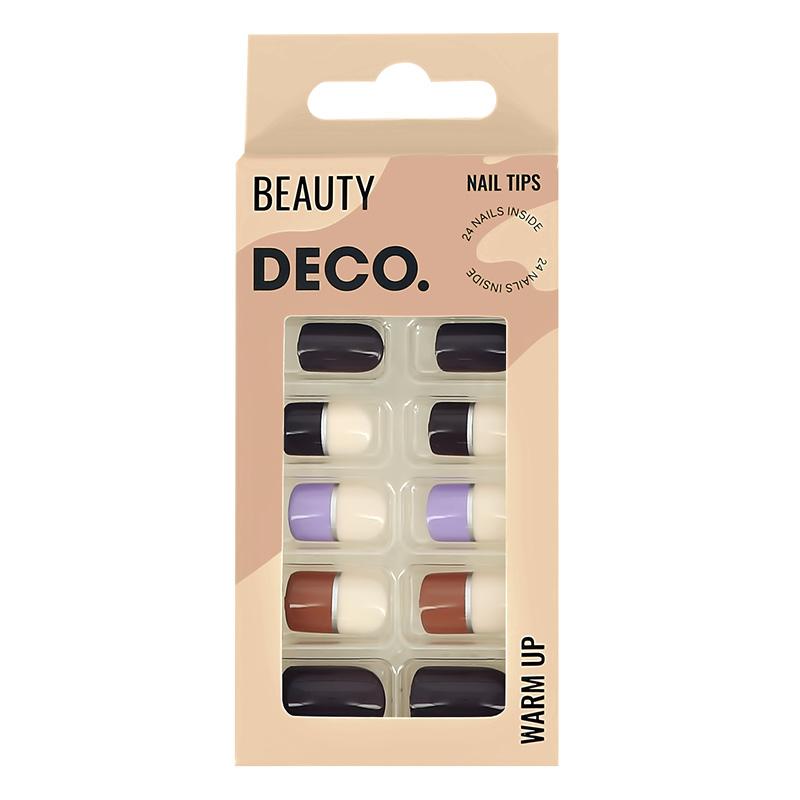 Набор накладных ногтей DECO. Warm Up Choco (24 шт + клеевые стикеры 24 шт)