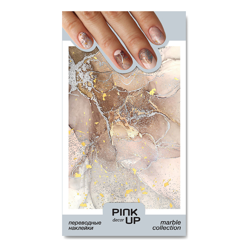 Наклейки для ногтей Pink Up Decor Marble переводные тон 825
