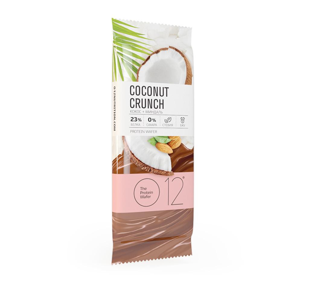 Вафельный батончик О12 с белковой начинкой с кокосом и миндалем в молочной глазури